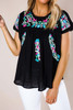 Black Embroidered Top - Final Sale