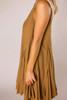 Camel Pleated Swing Dress