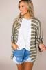 Olive Striped Knit Cardi