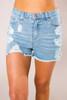 High-Rise Ripped Denim Shorts - Final Sale