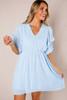 Light Blue Textured Bubble Sleeve Dress- Final Sale