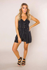 Black Printed Lace-Up Romper