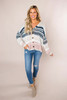 Beige/Teal Striped Button Sweater