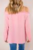 Pink Open Shoulder Button Top