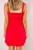 Red Ruffle Trim Mini Dress