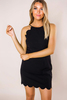 Black Scallop Trim Fitted Dress