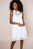 White Lace/Tassel Front Dress