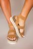 Tan Triple Strap Platform Sandals