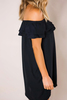 Black Ruffle Off-The-Shoulder Dress
