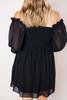 Black Textured Chiffon Dress