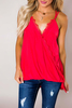 Red Lace Trim Wrap Tank