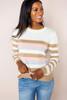 Cream/Tan/Pink Striped Sweater