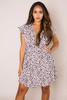 Taupe Printed Side-Tie Dress