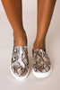 Tan Snakeskin Platform Sneakers