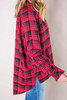 Red Plaid High-Low Button Down