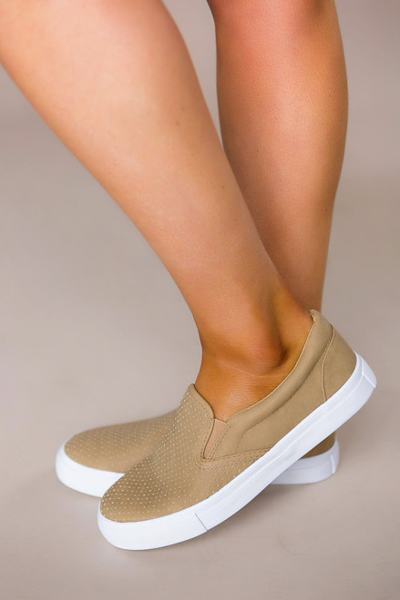 Tan Perforated Slip-on Sneakers - Final Sale