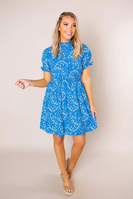 Blue Printed High Neck Dress