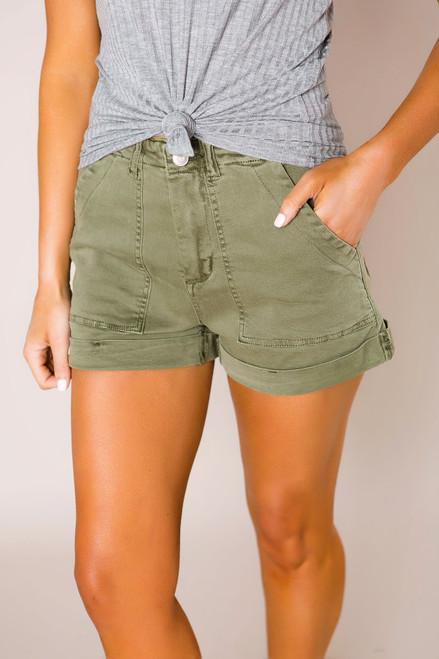 Olive Cuffed Shorts