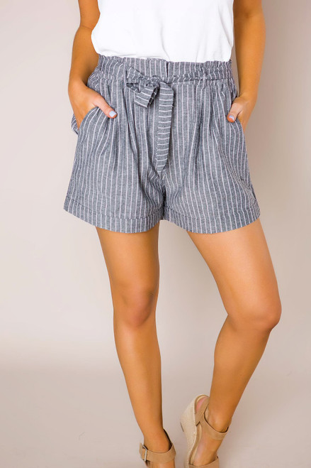 Faded Chambray Striped Shorts - Final Sale