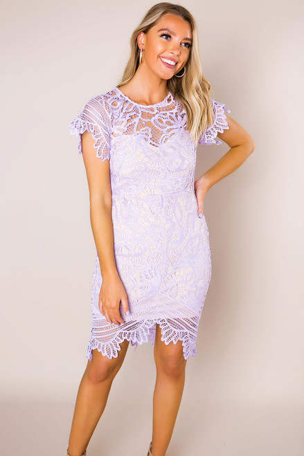 Lilac Crochet Fitted Dress - Final Sale