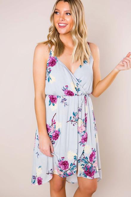 Grey Floral Wrap Dress