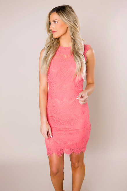 Coral Scallop Lace Dress