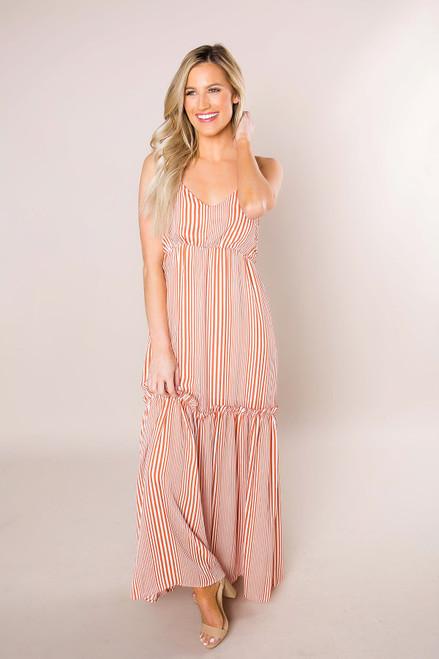 Rust Striped Maxi Dress - Final Sale