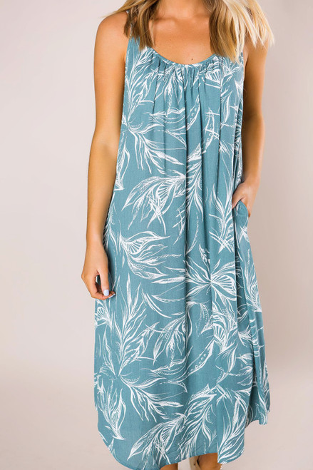 35ba8ab67d2f Seafoam Printed Midi Dress - Dottie Couture Boutique