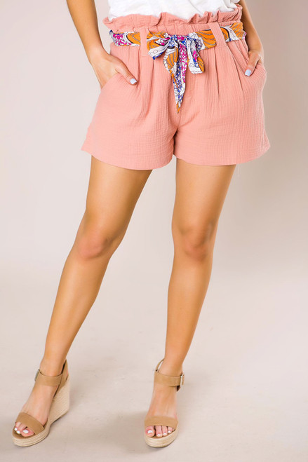 Peach Belted Shorts - Final Sale