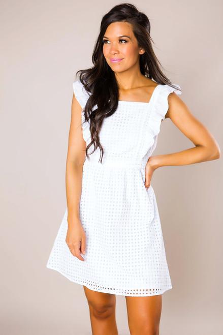 White Eyelet Ruffle Dress - Final Sale