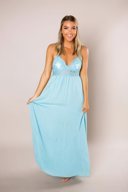Blue Crochet Top Maxi