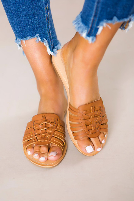 Camel Strappy Sandals - Final Sale