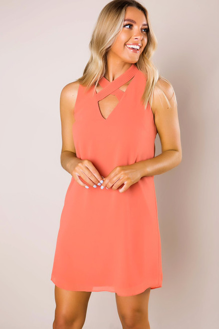 Apricot Cross-Front Dress