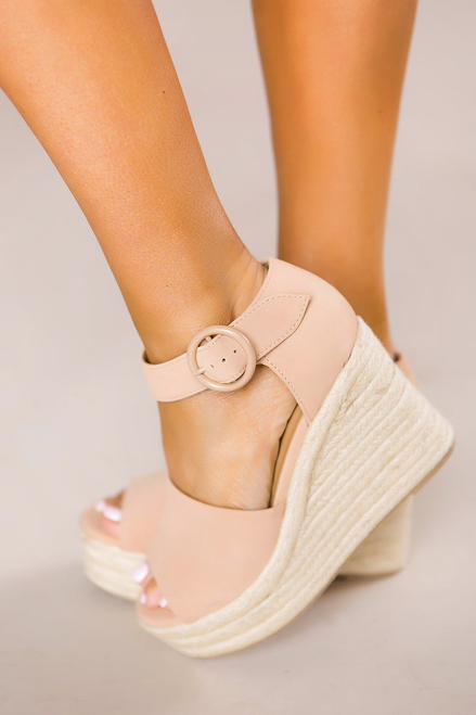 e9de93ce724 Nude Buckle Wedges- Final Sale