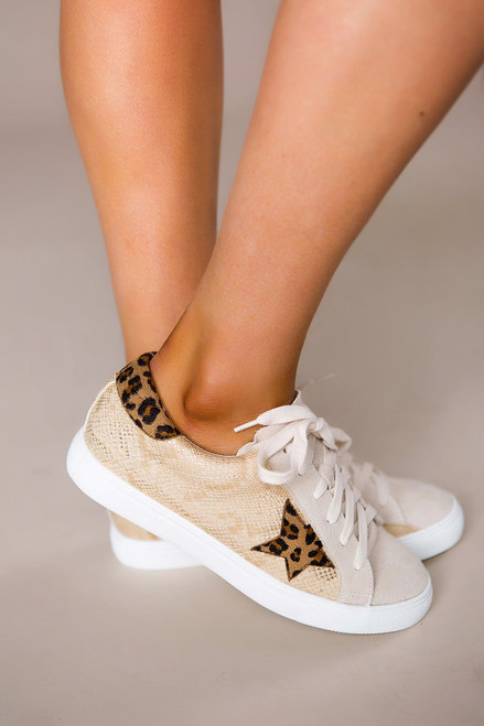 Mixed Print Sneakers