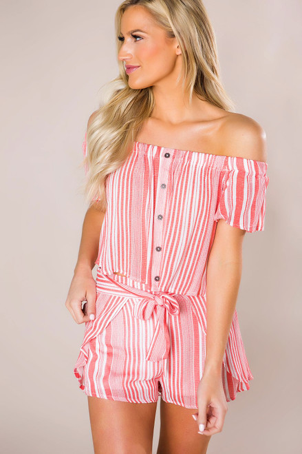 Coral Striped Button Set - Final Sale