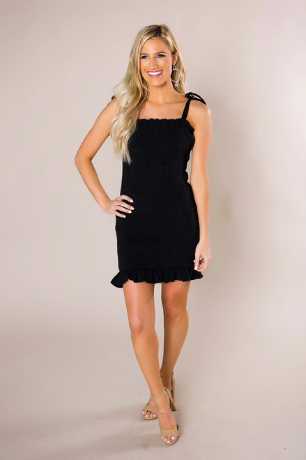 Black Smocked Mini Dress - Final Sale