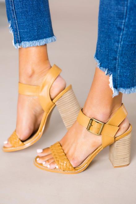 Tan Woven Heels