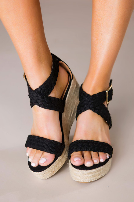 Black Braided Wedges