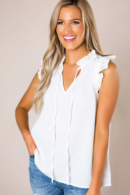 57b22568ad2 Ivory Eyelet Sleeve Tie Blouse - Dottie Couture Boutique