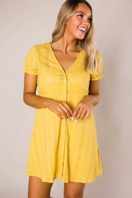 3659d5b4b50 Mustard Eyelet Button Dress - Dottie Couture Boutique