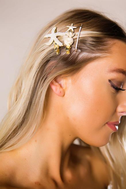 Pearl Starfish Hair Pin Set