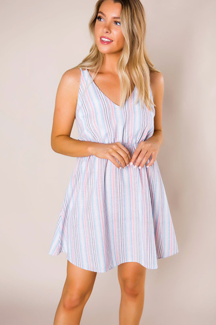 Pink/Blue Striped Dress - Final Sale