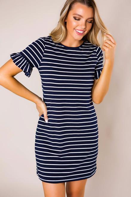 Navy Striped Dress - Final Sale