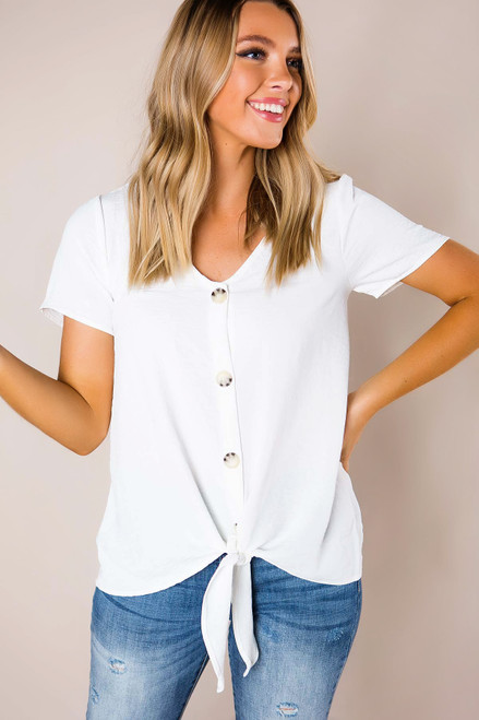 Ivory Button Blouse