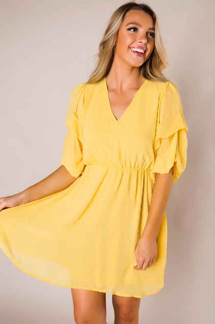 Mustard Textured Bubble Sleeve Dress- Final Sale