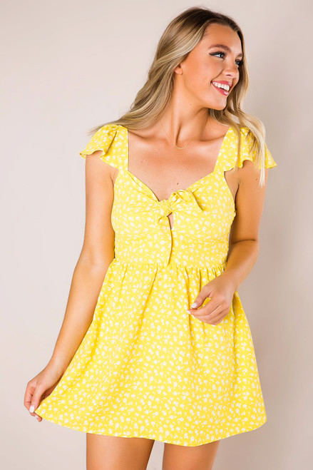 Yellow Printed Tie Front Dress
