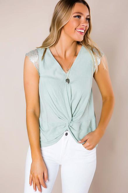 Sage Lace Sleeve Twist Blouse