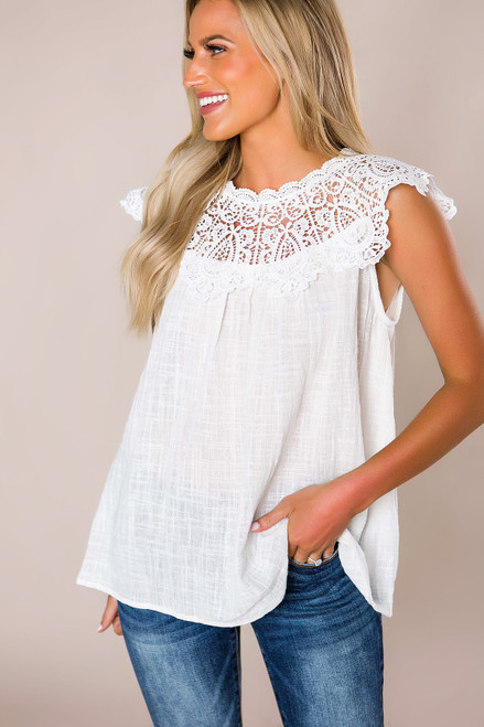 Off White Woven Crochet Neck Top - Final Sale
