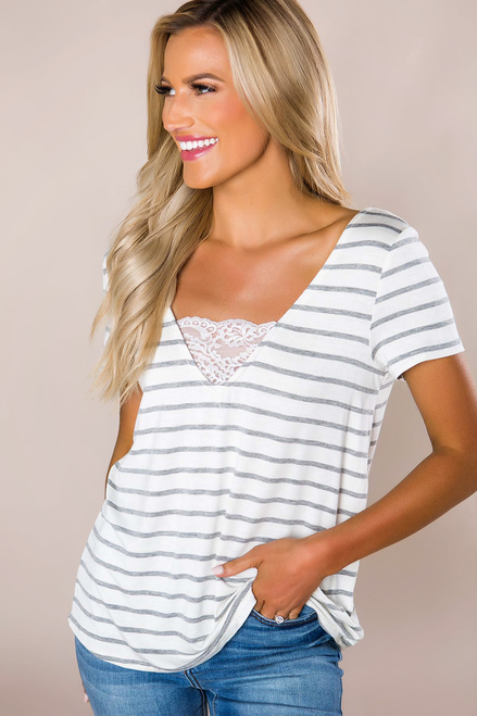 Ivory/Grey Striped Lace V Top